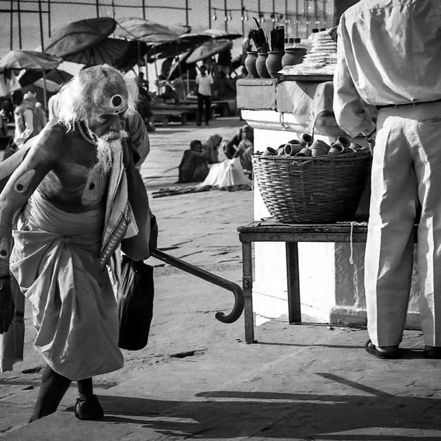 """One footed Baba, Varanasi, India"" stock image"