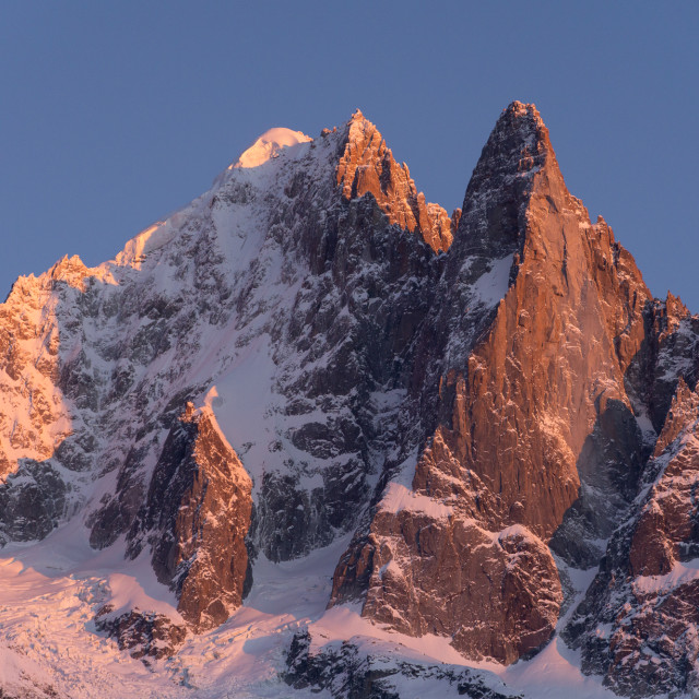 """Sunset over the Aiguille Verte (4122m) & Les Drus (3754m)("" stock image"