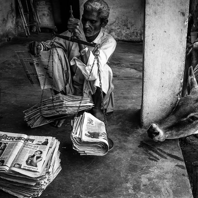 """Newspaper Recycling, Rishikesh, India"" stock image"