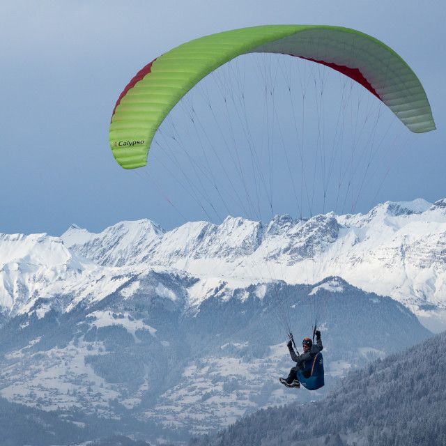 """Winter Paragliding"" stock image"