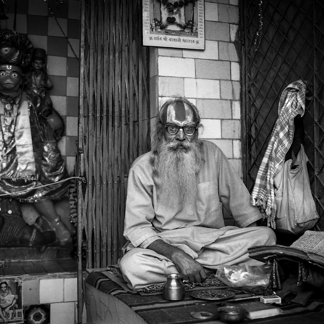 """Temple Keeper, Rishikesh"" stock image"
