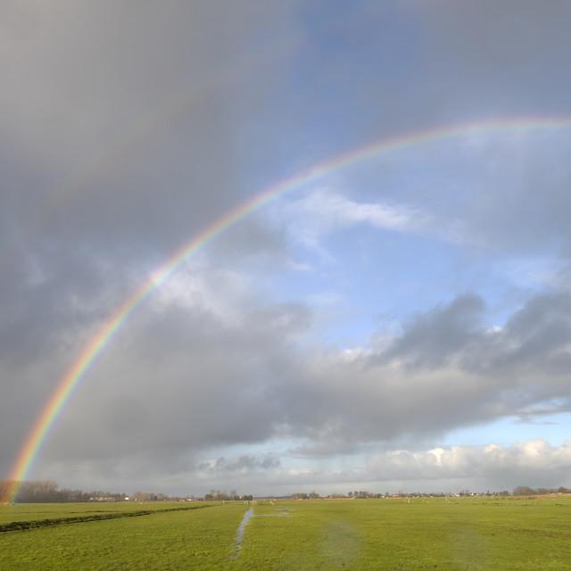 """""""Amsterdam Nederland 12 januari 2021 Overtrekkende winterse buien creëren schitterend regenbogen in de polders ten Noorden van Amsterdam. Een dubbele regenboog laat zien dat de buiten boog een inverse spectrum heeft ten opzicht van de binnenste. Amste"""" stock image"""