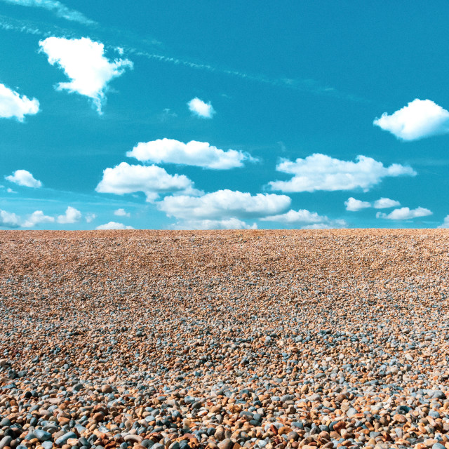 """""""Simpsons Sky and a Pebble Beach"""" stock image"""