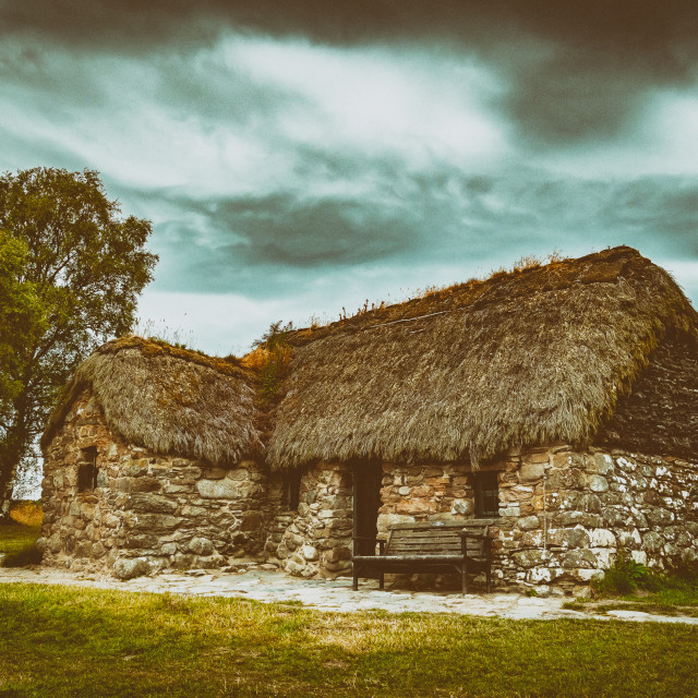 """""""Old Leanach Cottage"""" stock image"""
