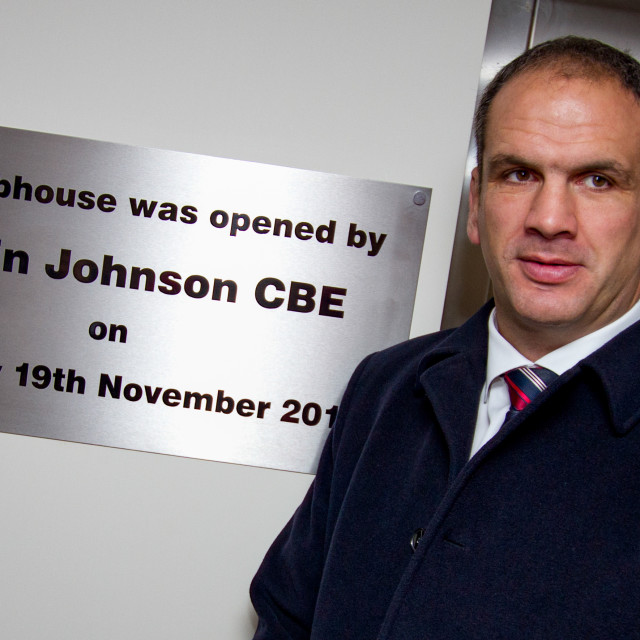 """Inspirational' Ex Captain of England Rugby Union Team Martin Johnson CBE opens Ilkley RFU new clubhouse 18/11/2011"" stock image"
