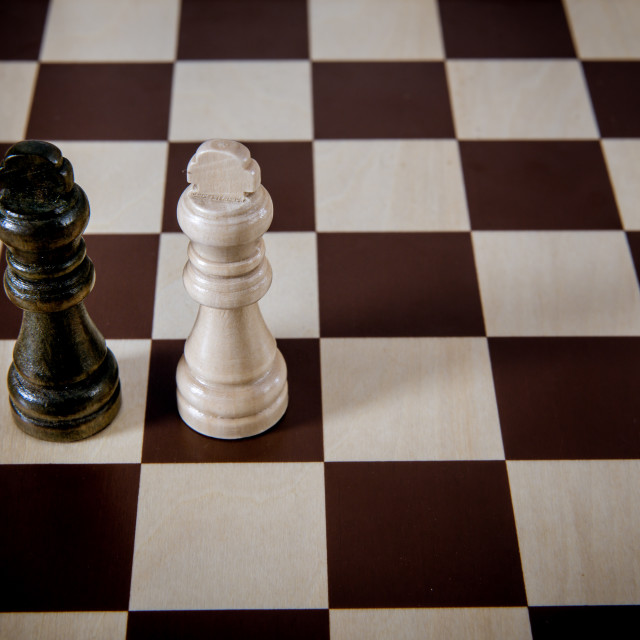 """""""Black and white chess kings alone on chess board challenge conce"""" stock image"""