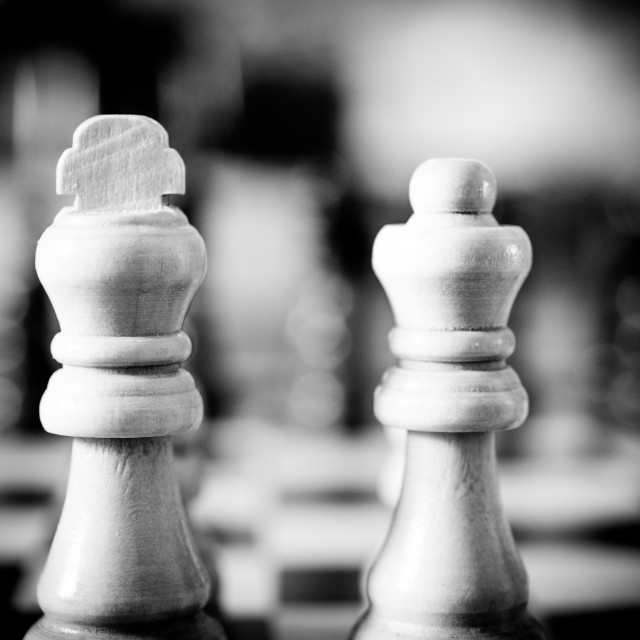 """""""White king and queen chess pieces extreme close up old fashioned"""" stock image"""