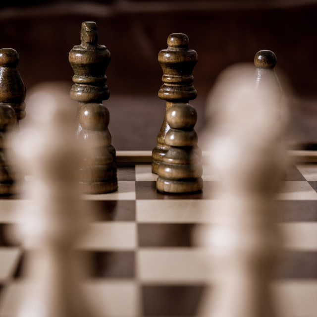 """""""War strategy concept black and white chess pieces deployment fac"""" stock image"""