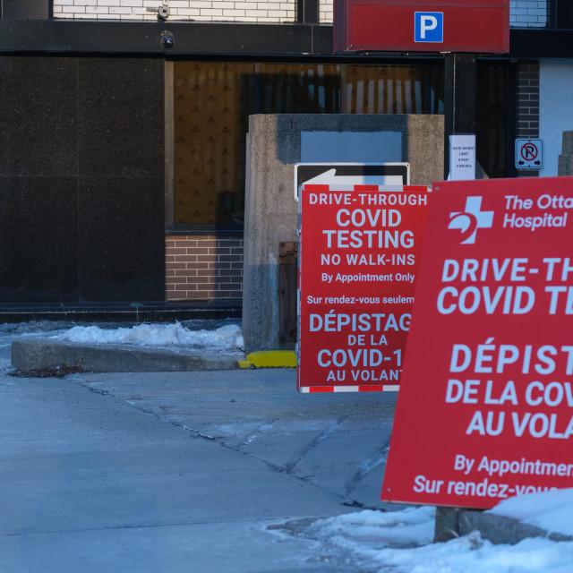 """Ottawa drive-through COVID-19 testing signs"" stock image"
