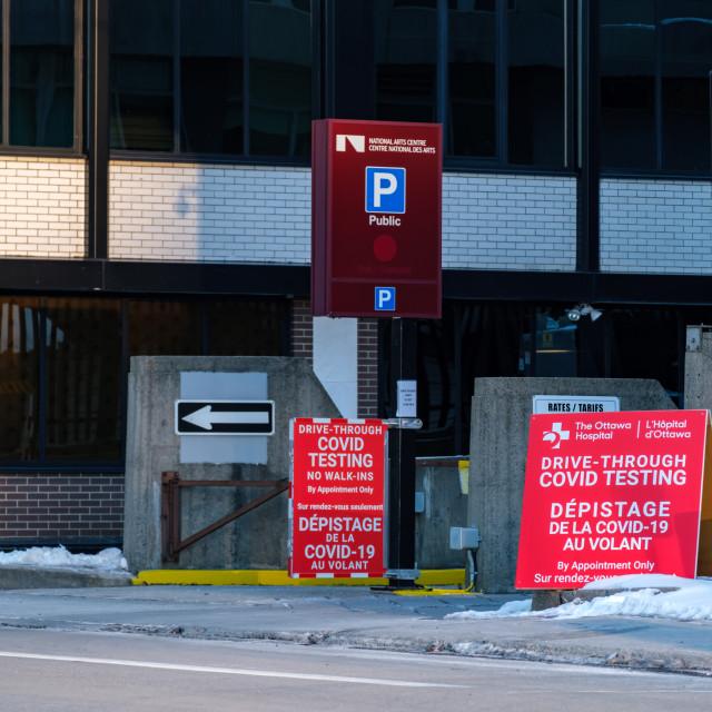 """Drive-through COVID-19 testing in downtown Ottawa"" stock image"