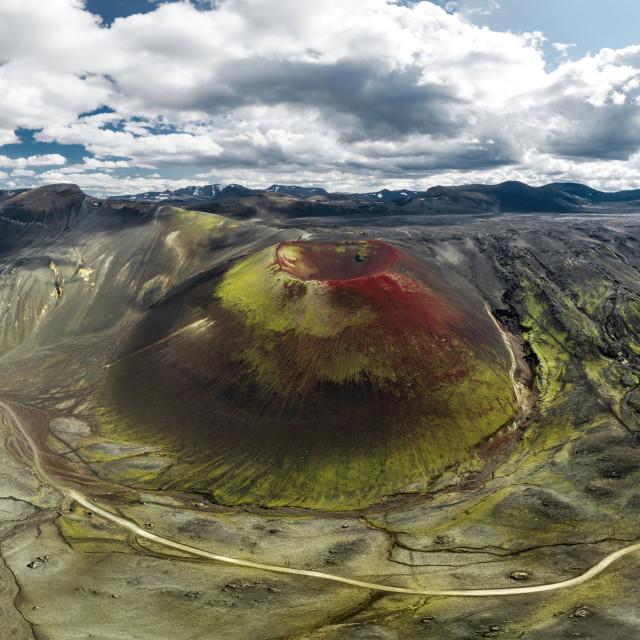 """Panorama of Raudaskal crater"" stock image"