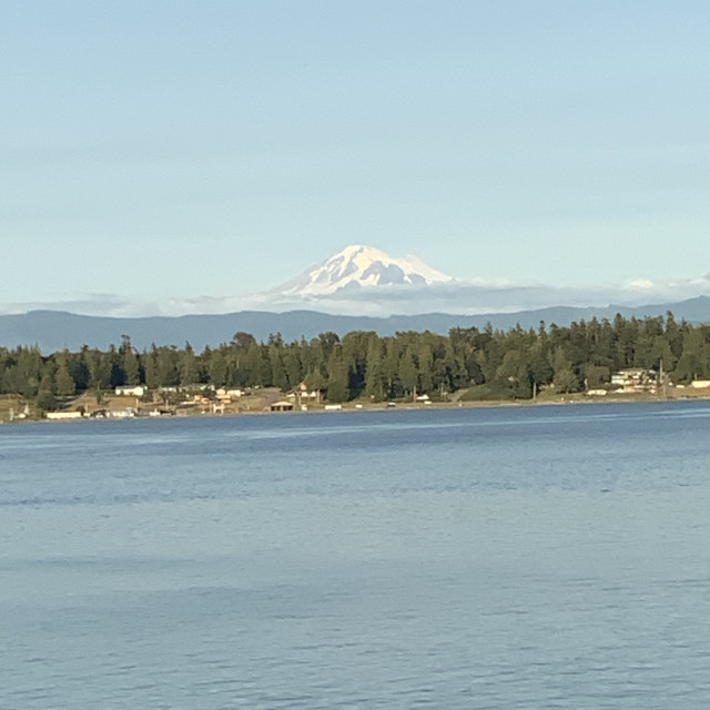 """Mount Baker from Lummi"" stock image"