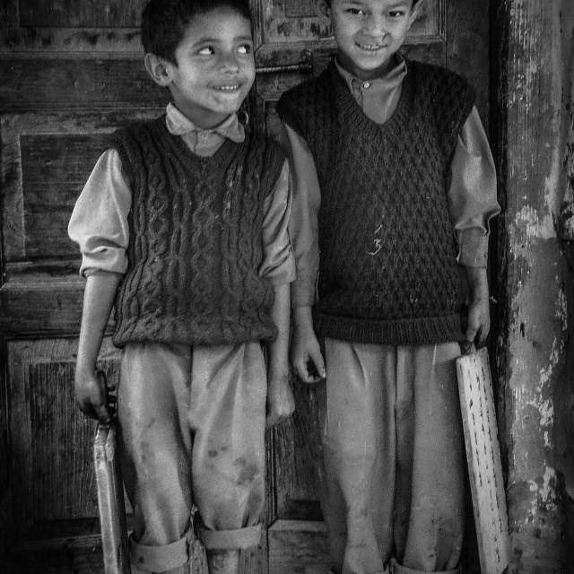 """""""Schoolboys, Kullu Valley, N. India"""" stock image"""