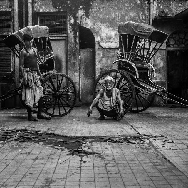 """Rickshaw Pullers, Kolkata, India"" stock image"