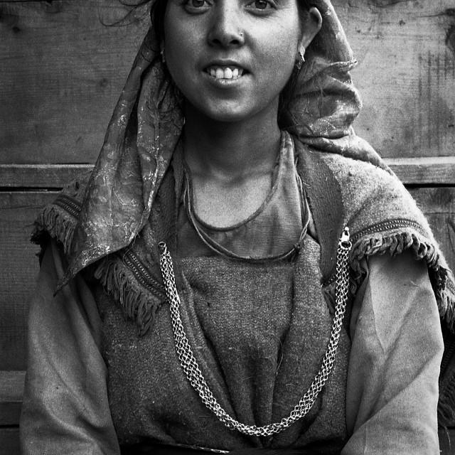 """Village Girl, Kullu Valley, N. India"" stock image"
