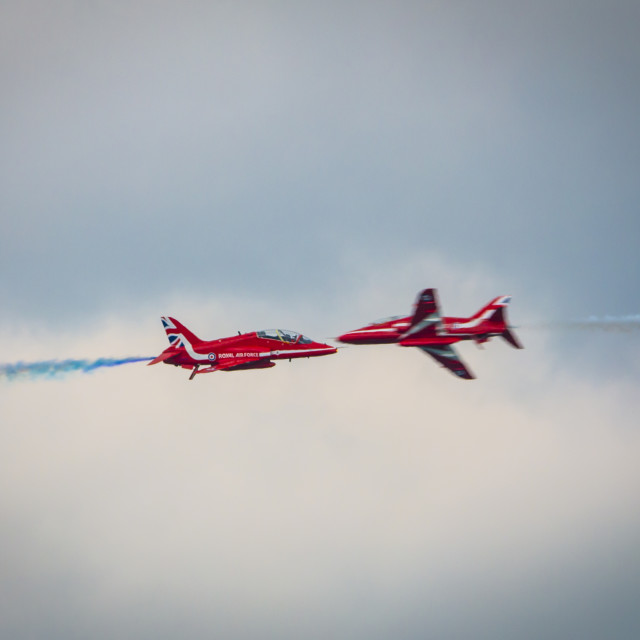 """Red Arrows Flyby"" stock image"