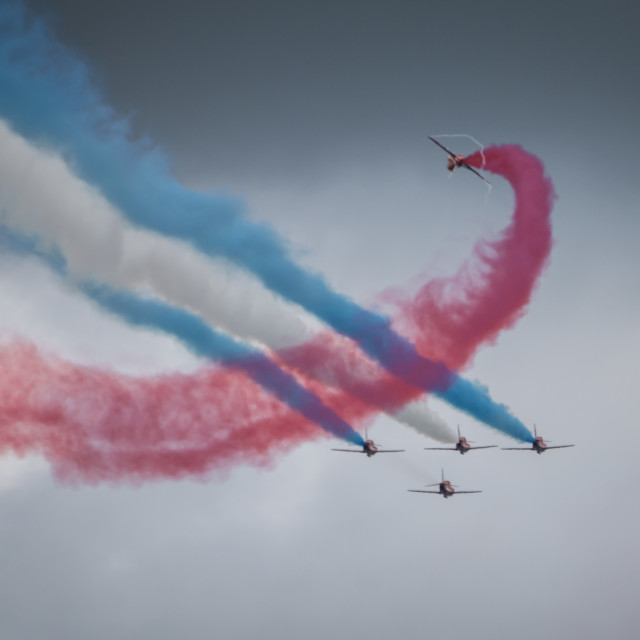 """Red Arrows Formation 2"" stock image"