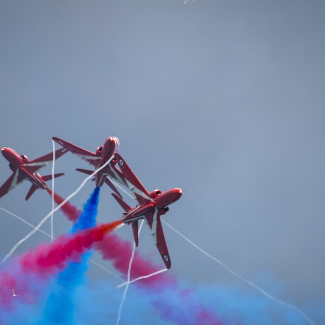 """Red Arrows Cross Over"" stock image"