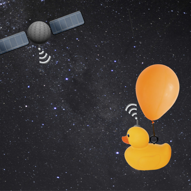 """""""Illustration - satellite location used to track and locate migrating ducks. Animation available."""" stock image"""