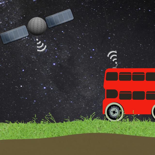 """Illustration - public transport using a GPS. Animation available."" stock image"