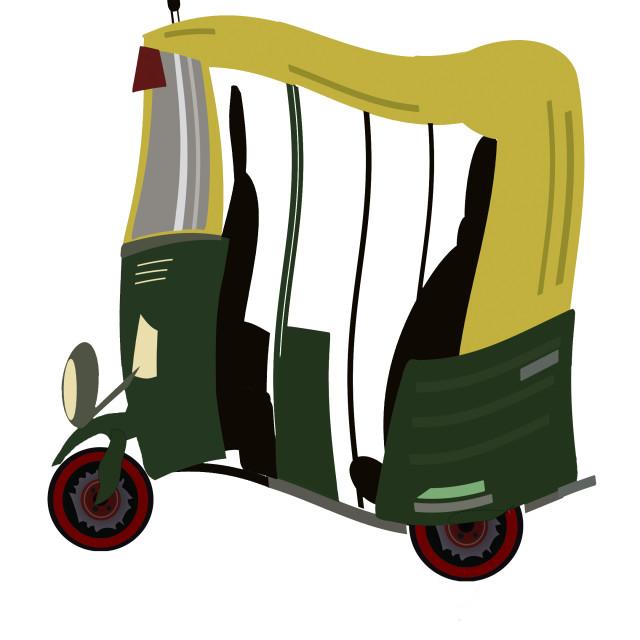 """""""Motorised rickshaws in India. Animation available."""" stock image"""
