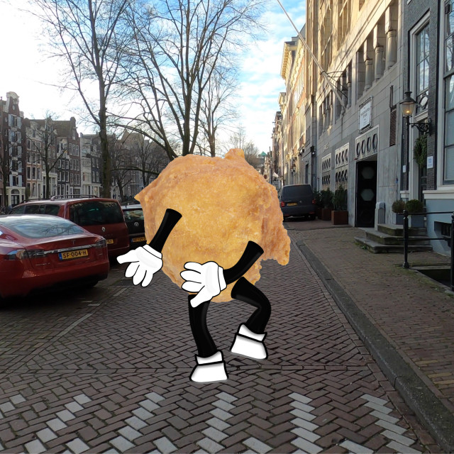 """""""Cartoon Oliebol jogging along the canals of Amsterdam to keep its weight..."""" stock image"""