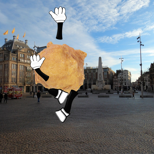 """""""Happy Oliebol jumping up in the air with joy on the Dam in Amsterdam"""" stock image"""
