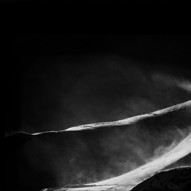 """Mountain peak in black and white"" stock image"