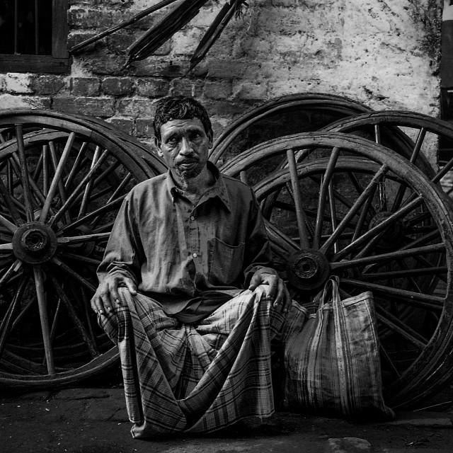 """""""Rickshaw Repairman, Kolkata"""" stock image"""