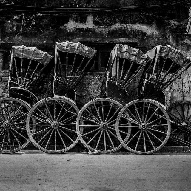 """""""Parked Rickshaws, Kolkata"""" stock image"""