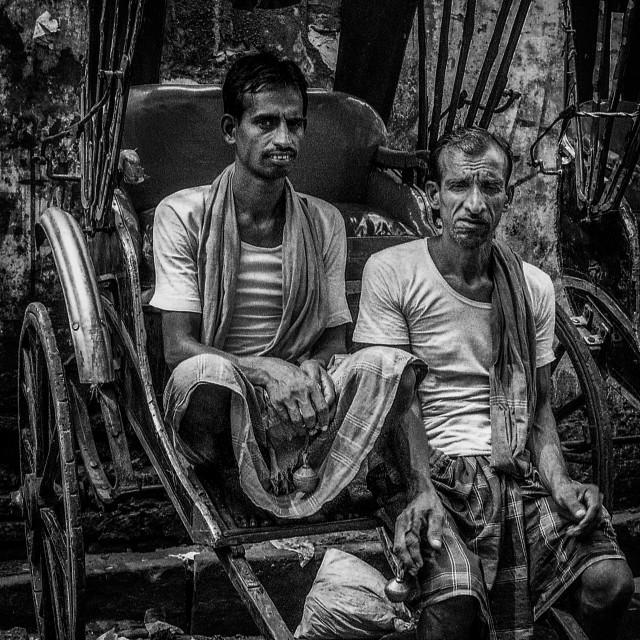 """Rickshaw Pullers, Kolkata"" stock image"