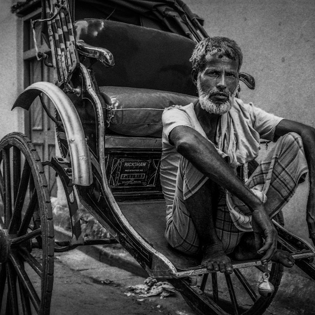 """Rickshaw Puller & Bell"" stock image"