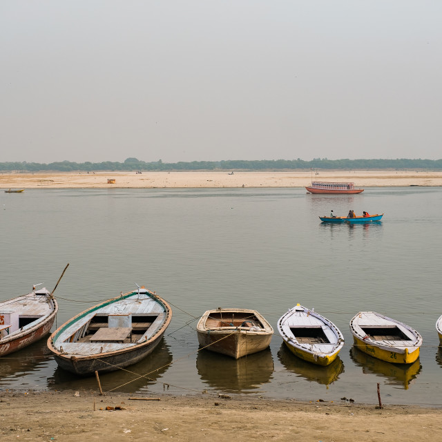 """""""Boats on the Ganges"""" stock image"""
