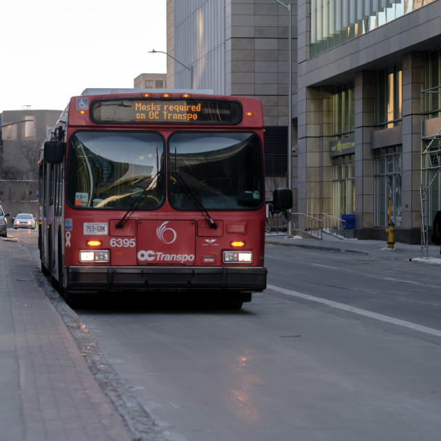 """City Bus: Masks required on OC Transpo"" stock image"