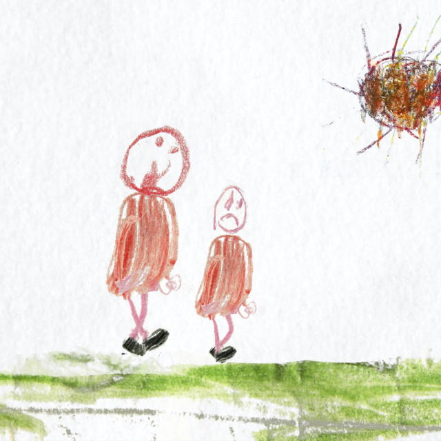 """""""Unhappy child walking with an adult. Childrens drawing. Animation available."""" stock image"""