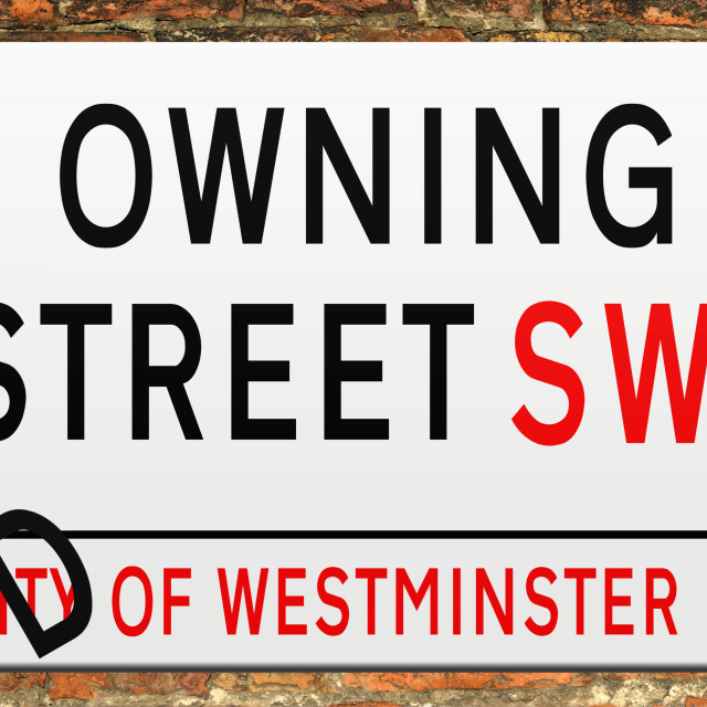 """""""Downing Street Sign with the letter D falling off to change the name to Owning Street .Concept government contracts being given to friends and associates of politicians. Privatisation. .Animation available."""" stock image"""