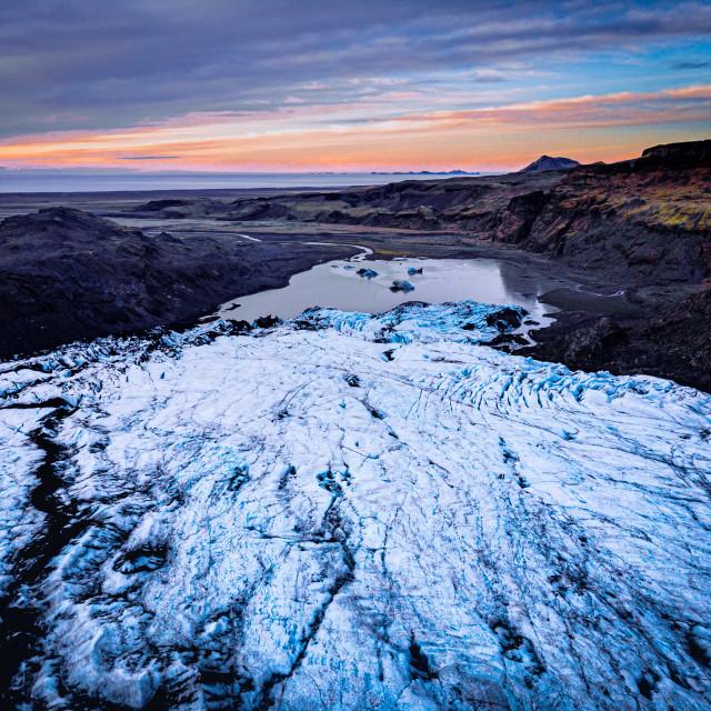 """A view down the glacier"" stock image"