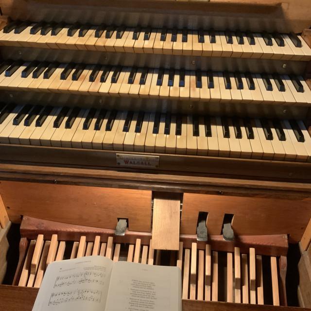 """All Saints Church Organ Sudbury Derbyshire"" stock image"