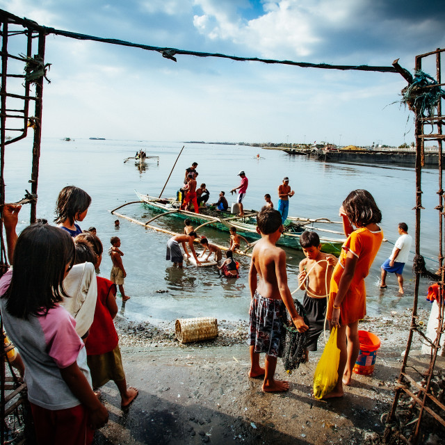 """Navotas Fishing Village at Manila Bay"" stock image"