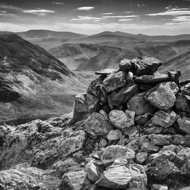 """Cairn atop Rannerdale Knotts - A Lake District Landscape in Monochrome"" stock image"