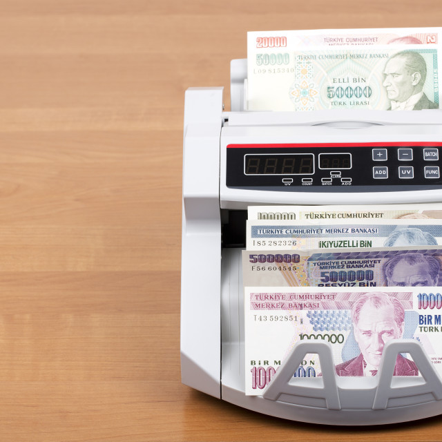 """Old Turkish money in the counting machine"" stock image"
