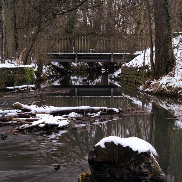 """""""Bridge water and snow"""" stock image"""