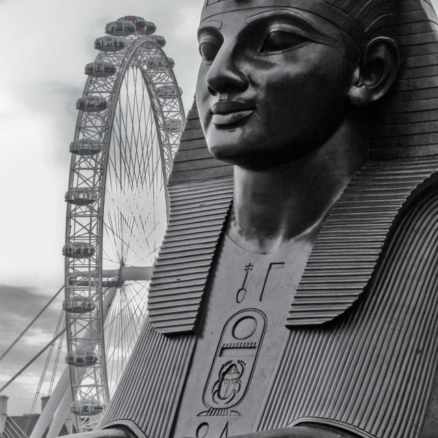 """Sphinx & London Eye ferris wheel."" stock image"