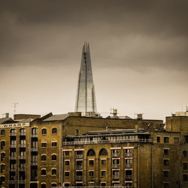 """""""New Crane Wharf with 'The Shard' building rising behind."""" stock image"""