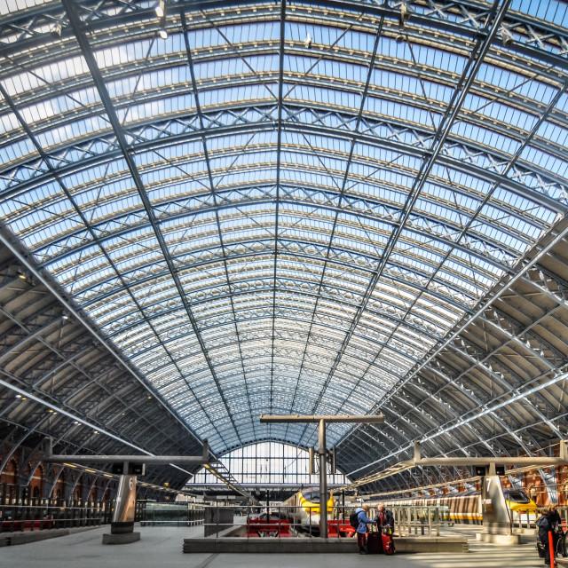 """St. Pancras railway station interior, upper level"" stock image"