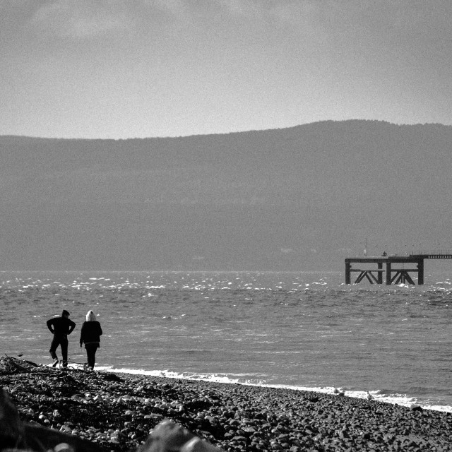 """Cromarty beach & figures"" stock image"
