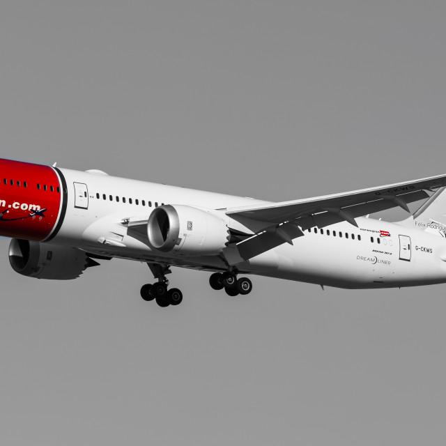 """Boeing B787 Norwegian Félix Rodríguez de la Fuente G-CKWS"" stock image"