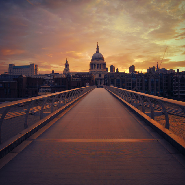 """London Sunrise - Millennium Bridge to St Pauls"" stock image"