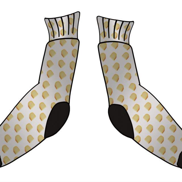 """""""Illustration - Cheesy feet. Sock covered with blocks of cheese. Animation of the dancing socks available. Studies have shown that the odorous nature of feet can be attributed a number of bacteria with Staphylococci being the main culprit for the smell."""" stock image"""
