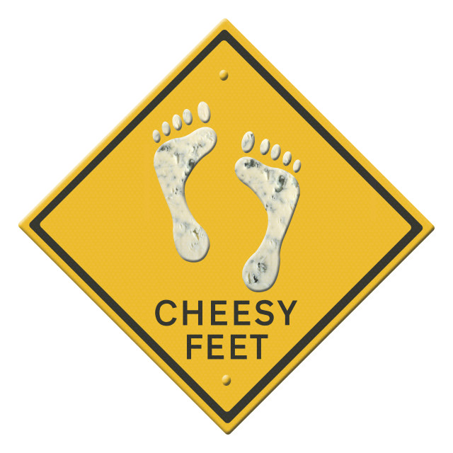 """""""Illustration - Cheesy feet Warning sign Animation of the dancing feet available. Studies have shown that the odorous nature of feet can be attributed a number of bacteria with Staphylococci being the main culprit for the smell. It is claimed that malari"""" stock image"""